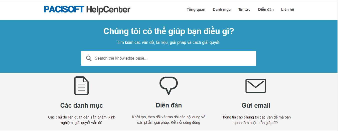 PACISOFT ra mắt trang Help Center