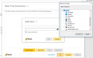 Hướng dẫn loại trừ file trong Norton