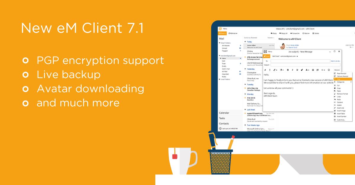 Tính năng mới của phiên bản eM Client 7.1