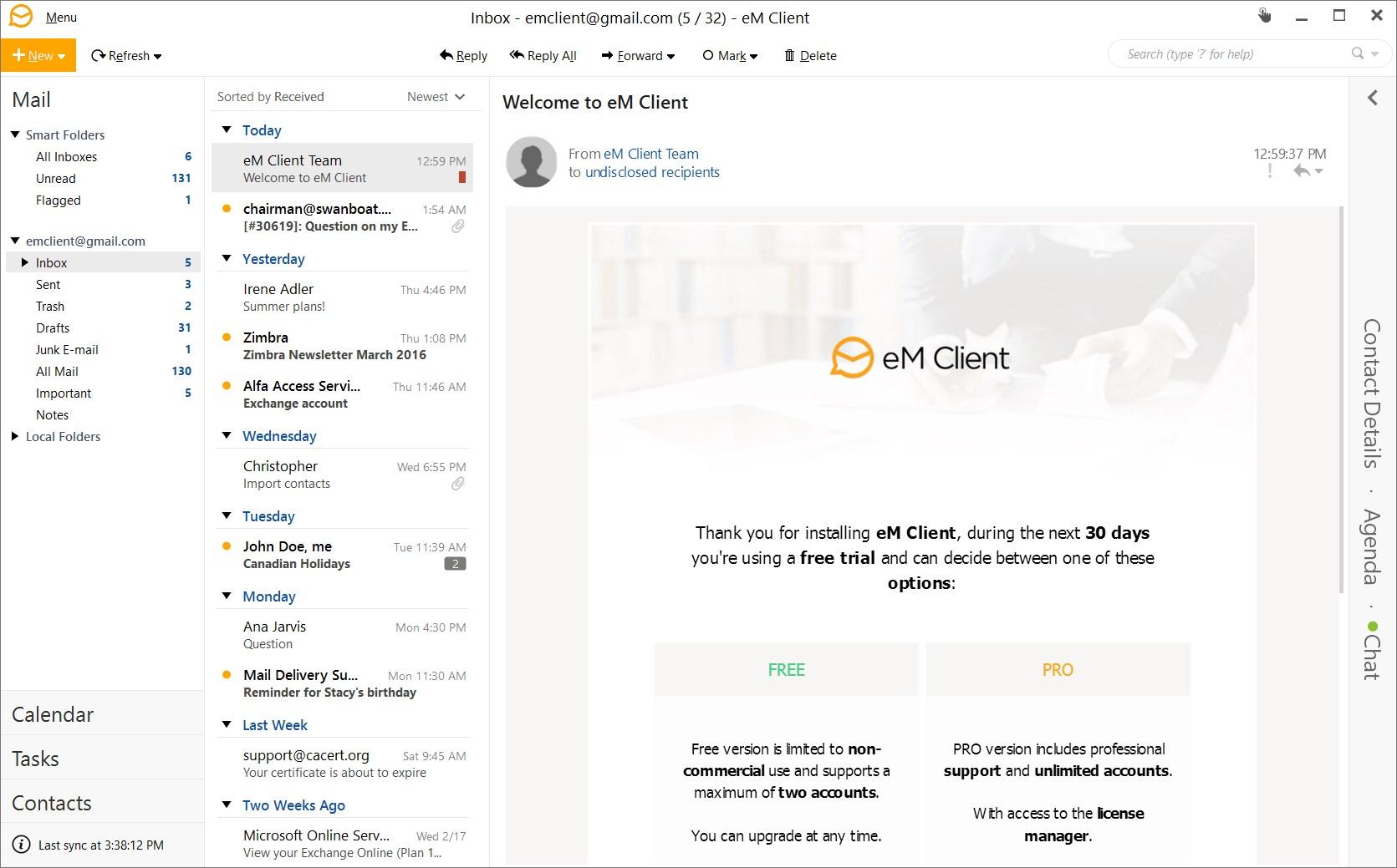 Ứng dụng eM Client đầy đủ tính năng của một giao diện hiện đại và dễ sử dụng