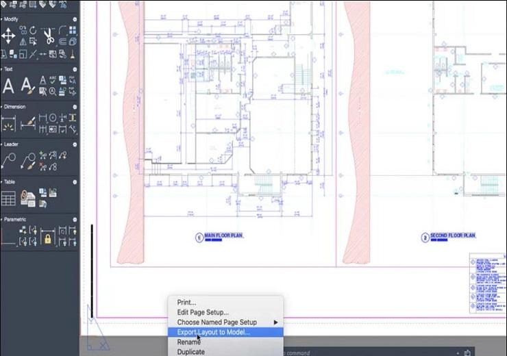 Export layout giúp xuất tất cả những vật thể hiển thị từ layout hiện tại vào mô hình không gian mới